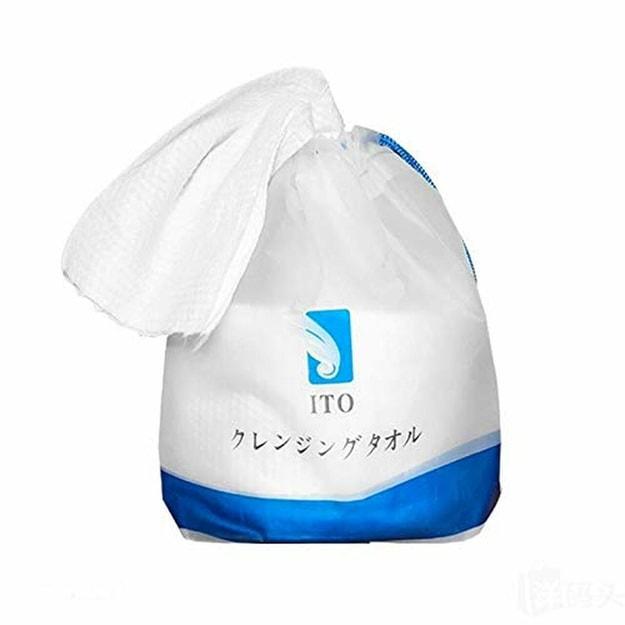 商品详情 - 日本ITO 纯棉洗脸巾 家用擦脸巾 一次性洁面巾大卷加厚干湿两用 80张 - image  0