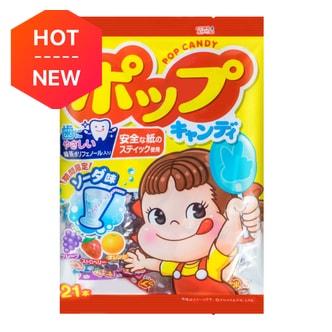 日本FUJIYA不二家 绿茶多酚护齿果汁棒棒糖 21支入 121.8g