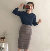 CHERRYKOKO Plaid skirt gray S