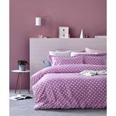 QBEDDING Dots and Stripes 100% Cotton Duvet Cover Set #Lavender Queen Size
