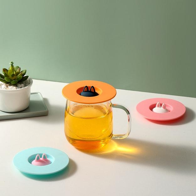 商品详情 - 中国直邮 创意猫耳朵硅胶杯盖防漏防尘马克杯陶瓷茶杯水杯小猫杯盖  湖水蓝 - image  0