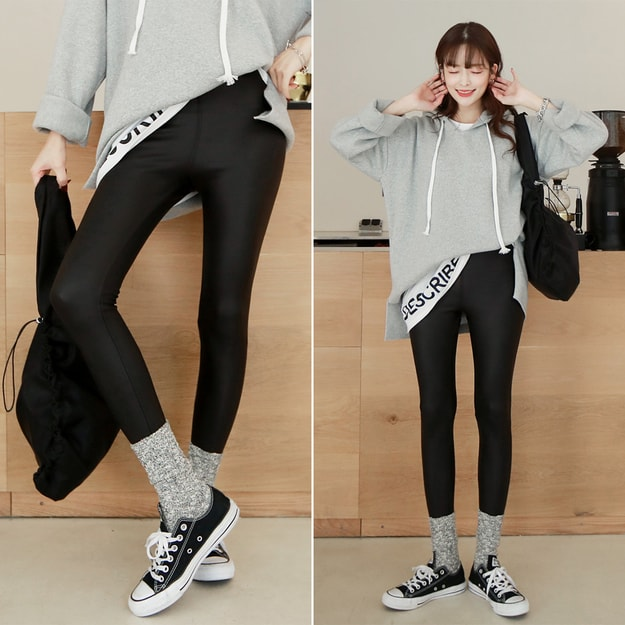 Product Detail - SSUMPART Fleece Lined Coated Leggings #Black S(25-26) - image 0