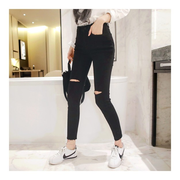Product Detail - WINGS Mid-High Rise Cut Out Skinny Ankle Jeans In Black Size(25) - image 0