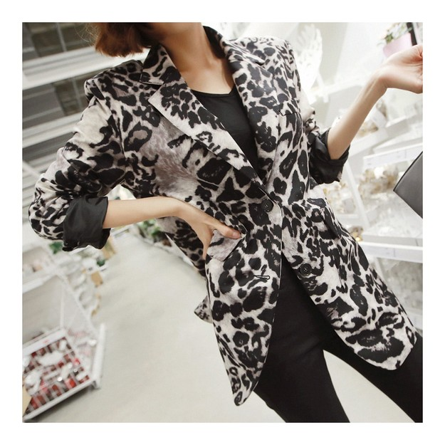 Product Detail - [KOREA] MAGZERO Leopard Print Blazer #Silver&Black One Size(S-M) [免费配送] - image 0