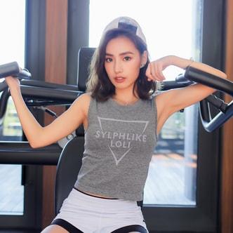 暴走的萝莉  速干无袖运动背心   短款夏季透气瑜伽健身/烟灰#/S