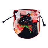 Japanese Style Lucky Cat Small Pouch / Coin Purse (Random Color Provided)