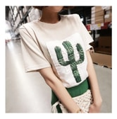 MAGZERO [2018 S/S Restock] Embossing Cactus Print Vintage T-Shirt #Beige One Size(S-M)