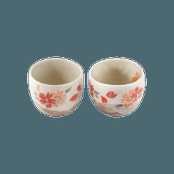 日本美浓烧 陶器 春樱杯一对 直径8.5×高8.3cm 日本传统工艺品 木盒包装 送礼必备