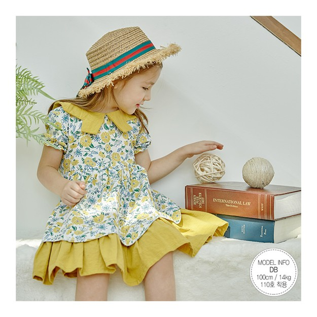 Product Detail - MODELAMI Kid Girl Floral Layered Ruffle Dress #Yellow 120(6-7years) - image 0