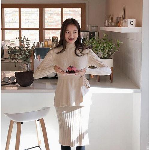 Cherrykoko New Korean Women Winter Elegant Slim Long Dress Suit