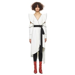 SELF-PORTRAIT Monochrome Asymmetric Wrap Dress White UK8