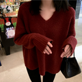 PRINSTORY 2019秋冬 复古车厘子红色chic羊绒V领慵懒风毛衣 S