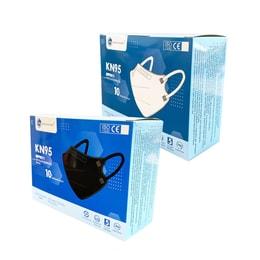 中国GREENCARE格林特卫 5层加护KN95 口罩 可塑型鼻夹+舒适鼻垫+超声波加强筋 白色+黑色 2盒超值装 10片/盒