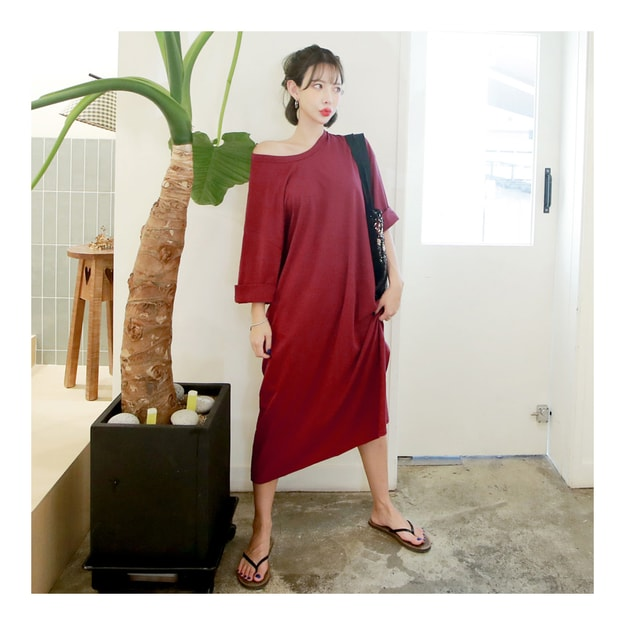 Product Detail - [KOREA] MAGZERO Kimono Sleeve Loose Long Dress #Wine One Size(Free) [免费配送] - image 0