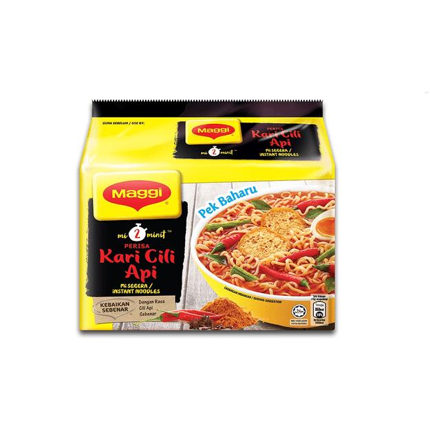商品详情 - 【马来西亚直邮】马来西亚 MAGGI 2 Min 辣椒咖喱味方便面 5包入 - image  0