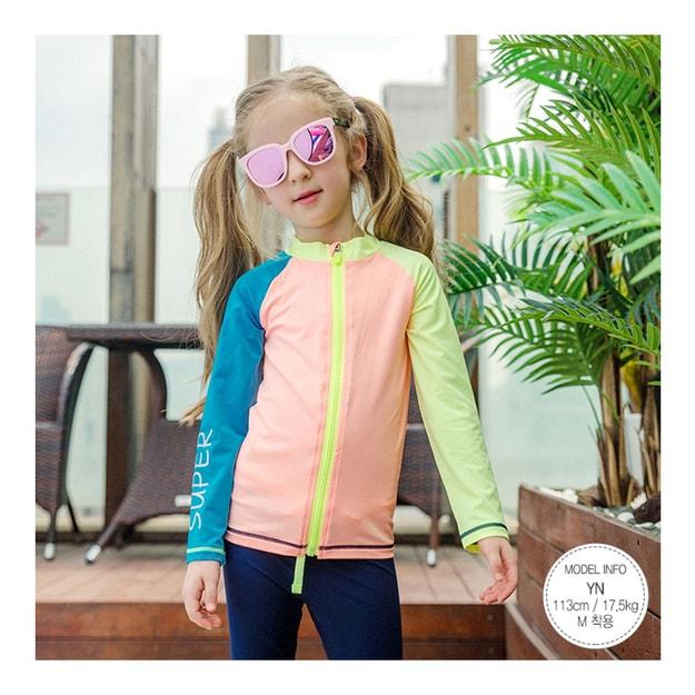 Product Detail - MODELAMI Kid Girl Color-Block Zip Rash Guard+Swim Leggings 2 Pieces Set UPF 50+ #Blue+Orange L(6-7years) - image 0