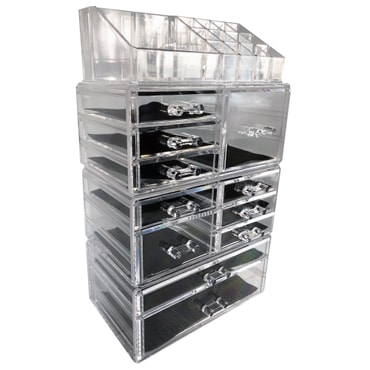 【Cosmetic Storage】ROSELIFE [TGHA] 4-Layers Acrylic Cosmetic Storage Box with 11 Drawers,12+4 Slots,Detachable,Clear