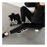 MAGZERO [Limited Quantity Sale] Side Stripe Stretch Ankle Leggings #Black One Size(S-M)