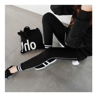 MAGZERO [秋季新款] 边条纹弹力运动打底裤 #黑色 均码(S-M)