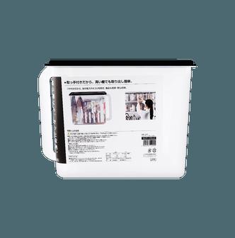 日本INOMATA 厨房密封保鲜透明收纳盒 黑盖深型