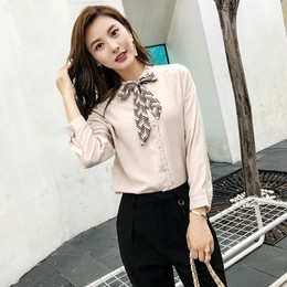 CARRIE&KATE【Designer Style】2019 NEW Spring Pure color Leisure Geometric pattern butterfly knot women's shirt Khaki/M