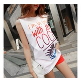 KOREA MAGZERO Gradient Letters Print Sleeveless T-shirt Ivory One Size(Free) [Free Shipping]