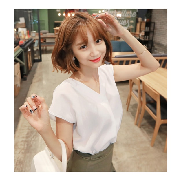 Product Detail - KOREA MAGZERO Chic V-neck Blouse White One Size(Free) [Free Shipping] - image 0