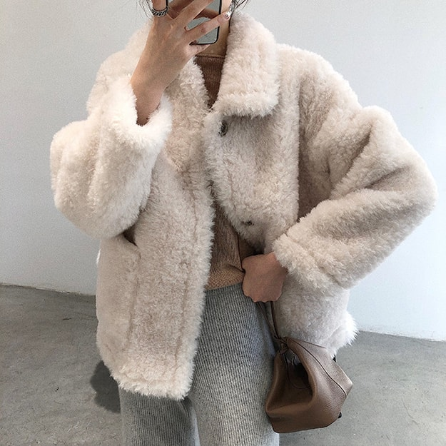 Product Detail - PRINSTORY 2019 Fall/Winter Cute Warm Wool Coat Apricot Cream/M - image 0
