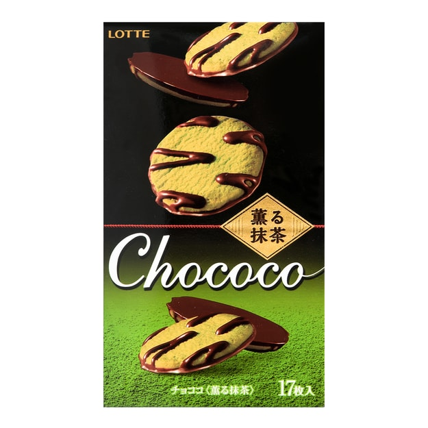 Product Detail - LOTTE Macha Chocolate Cookies 17pcs 98.6g - image 0