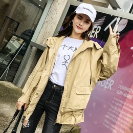 CARRIE&KATE【Designer Style】2019 New Spring and Summer  Casual hooded Korean edition Maiden style Loose jacket Khaki/L