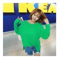 KOREA MAGZERO Natural Loose Style Basic T-shirt #Green One Size(Free) [Free Shipping]
