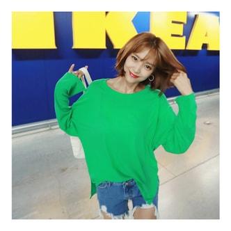 韩国MAGZERO [限量销售] 宽松款纯色套衫 #绿色 均码