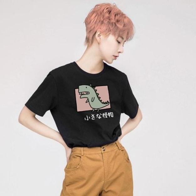商品详情 - PROD 小怪物 宽松短袖T恤纯棉半袖初秋上衣黑色-S号 - image  0