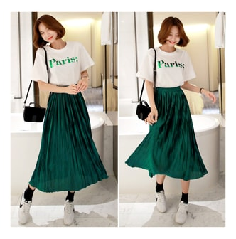 MAGZERO [2018 S/S New] Pleated Skirt #Green One Size(S-M)