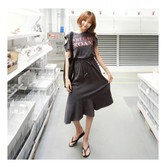 MAGZERO [Limited Quantity Sale] Daily Casual Cutout Flare Dress Charcoal One Size(S-M)