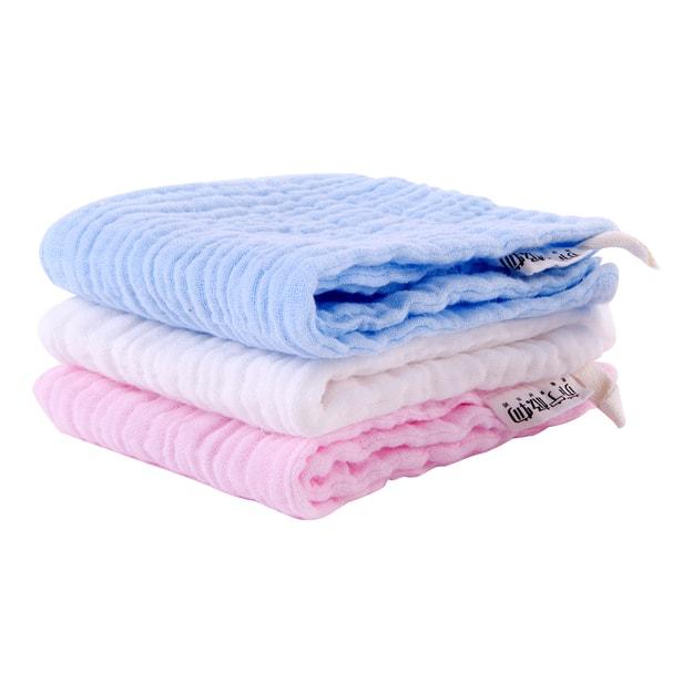 商品详情 - 苏宁极物 婴儿纱布方巾(三条装) 白色+粉色+蓝色 - image  0