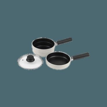 日本 Pearl Metal パール金属 家用不粘涂层煎锅带盖子18cm 白色 五件套 2锅2手柄1锅盖 可摞放