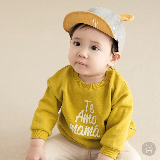 HAPPY PRINCE Cather Man to Man Tee Mustard 6-12 Months