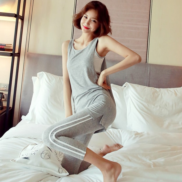 Product Detail - WINGS Double-Layer Tank Top+Capri Leggings 2 Pieces Set #Grey One Size(S-M) - image 0