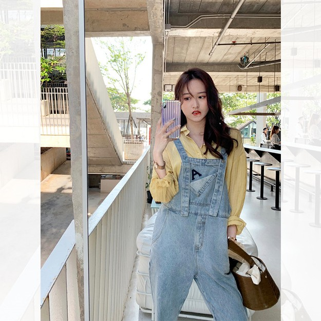 Product Detail - PRINSTORY 2019 Spring/Summer College Style A Denim Jumpsuit Blue/S - image 0