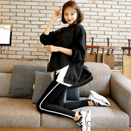 WINGS Layered Sweatshirt and Side Stripe Leggings With Fleece Lining #Black One Size(Free)