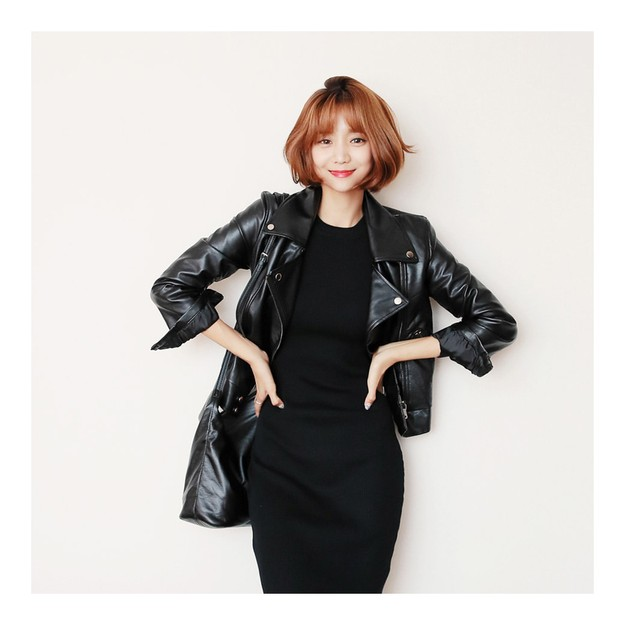 Product Detail - KOREA MAGZERO Faux Leather Moto Jacket Black One Size(Free) [Free Shipping] - image 0