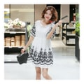 [KOREA] MAGZERO Floral-Embroidered Flare Mini Dress #White One Size(S-M) [Free Shipping]