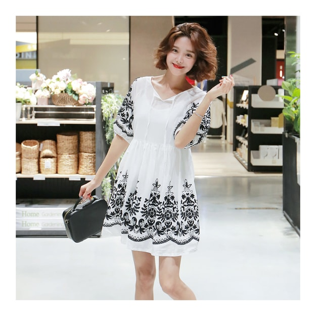 Product Detail - [KOREA] MAGZERO Floral-Embroidered Flare Mini Dress #White One Size(S-M) [Free Shipping] - image 0