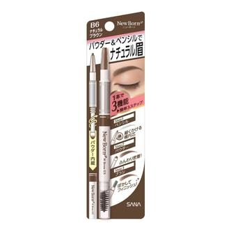 日本SANA莎娜 NEW BORN EX 眉采飞扬三用眉笔 眉笔+眉粉+旋转眉刷 #B6自然棕色 单支入