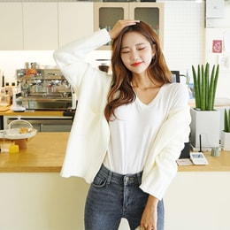 SSUMPARTY Cropped Open Cardigan #Ivory One Size(S-M)