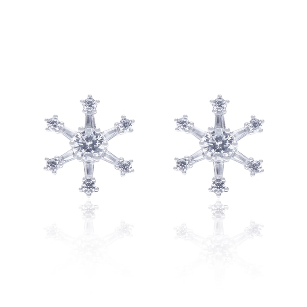 ARSIS simple snow flakes stud earrings 1pair