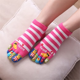 UNIQUEWHO Cute Funny Cartoon Toe Socks for Women Girls Soft Breathable Pure Cotton Socks for School Girl Pink 1 Pair