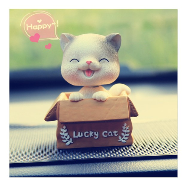 Product Detail - RAMBLE Car Cartoon Cute Cat Shaking Head Decorations Lucky Cat kt Cat Pet Creative Car Interior Products Cat A Style-1pc - image 0