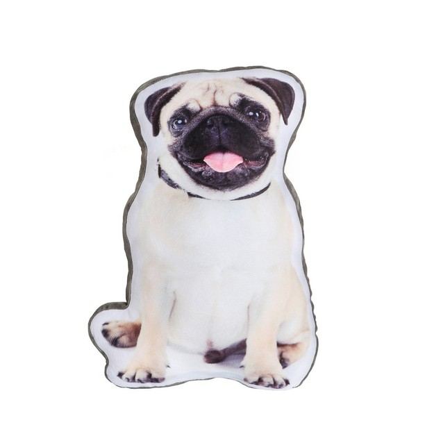 商品详情 - Petorama 宠物仿真印刷双面造型靠垫 #巴哥犬 - image  0